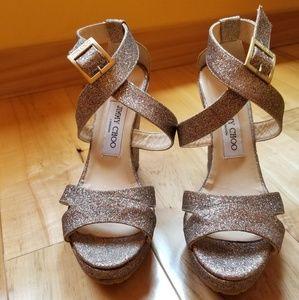 Jimmy Choo glitter strappy wedge sandal